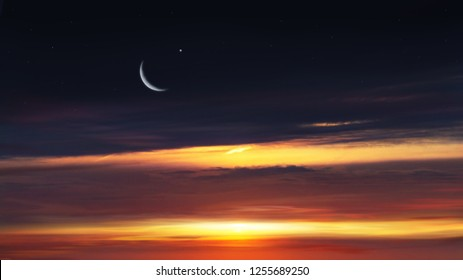 Paradise heaven . Red sunset and moon . Ramadan background . Half moon and star . Beautiful star . Sunset and new moon . Beautiful sky