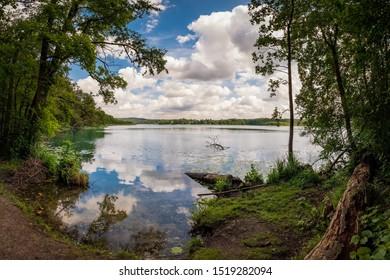 "A paradise for hikers: western shore of the ""Schermützelsee"" in the ""Maerkische Schweiz"" nature reserve near Buckow"