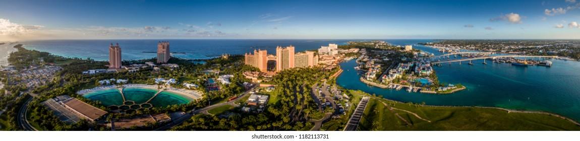 Paradise Island Bahamas panoramic aerial view