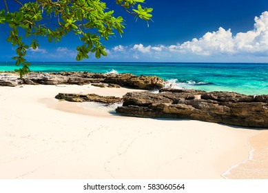 Paradise nature, sand, sea water, rocks, grean leaves and summer on the tropical beach.  Photo from Playa Del Carmen, Riviera Maya, Yucatan, Mexico.