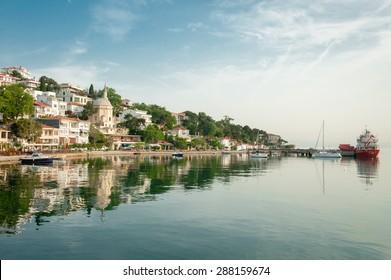 Paradise near Istanbul, Turkey. Port of Burgazada, the third largest of the Princes' Islands in the Sea of Marmara, near Istanbul, Turkey.