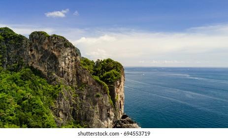 Paradise in the ocean around big rocks