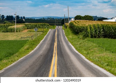 Paradise, PA, USA - August 8, 2015: A rural, two-lane country road in farmland during the summer in Lancaster County, Pennsylvania.