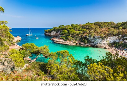 Paradise place, beach of Cala Llombards at Majorca island with turquoise sea water, Mediterranean Sea, Spain Balearic Islands.