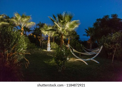 Paradise place with hammock at night