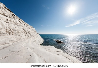 Paradise rocky white beach on Sicily in Italy