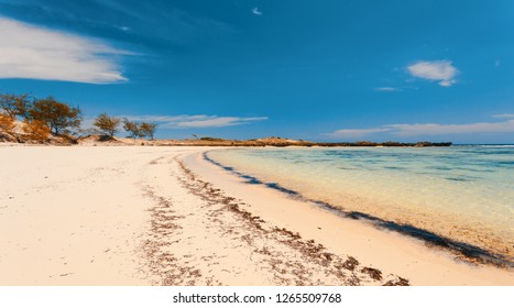 paradise sand beach in Antsiranana in low tide, Diego Suarez bay, Indian ocean, Madagascar beautiful virgin nature