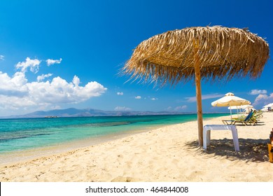 paradise sandy beach on Naxos island, Cyclades, Greece