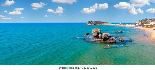 Paradiesischer Meerstrand Cala Paradiso und Cala del Re bei Rocca di San Nicola, Agrigento, Sizilien, Italien