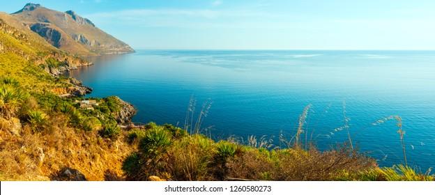 Paradise sea landscape from coastline trail of Zingaro Nature Reserve Park, between San Vito lo Capo and Scopello, Trapani province, Sicily, Italy.