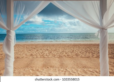 Paradise seascape. Tropical beach view on the Caribbean sea and Dominican Republic.