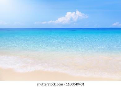 Paradise tropical beach with white sand and clear sea