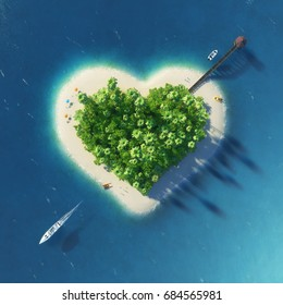 Paradise tropical island in the form of pierced heart. Holidays, travel, relax, eco, nature concept. 3D rendering illustration