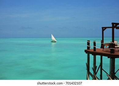 Paradise view with a Boat on Turquoise Lagoon in Zanzibar