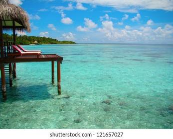 Paradise view from a Maldives water villa