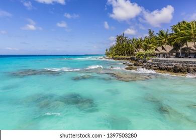 Paradise view of Tropical beach with palm trees at Rangiroa (Tuamotu Archipelago). French Polynesia, Pacific Ocean.