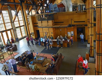 PARADISE, WASHINGTON, USA – JUNE 18, 2018: Interior of the Henry M Jackson Visitor Center at Paradise of Mt Rainier National Park