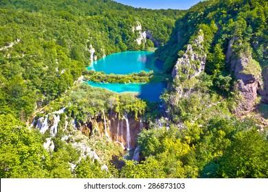 Paradise waterfalls of Plitvice lakes national park, panoramic view, Croatia