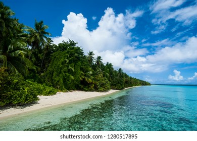 Paradise white sand beach in turquoise water in the Ant Atoll, Pohnpei, Micronesia