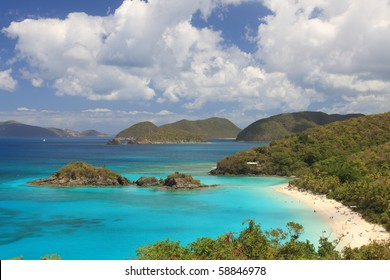 Paradise-like US Virgin Islands in the Caribbean. Turquoise ocean and lovely landscapes.,