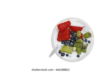 Paraffin muesli with yoghurt and fruit. Isolated