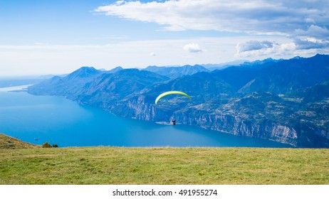 Paraglider in action, lago di Garda, Italy, Garda lake