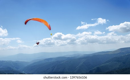 Paraglider in the blue sky. The sportsman flying on a paraglider.