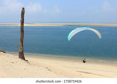 Parapente volant dans la Dune de Pyla sur mer, située dans le bassin de l'Arcachon, département de la Gironde, région Atlantique, France.