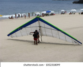 Paraglider just landed on Copacabana beach of Rio de Janeiro, Brazil