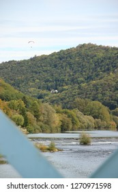 Paraglider over the Doubs; Photo from Aveney in Franche Comté, France