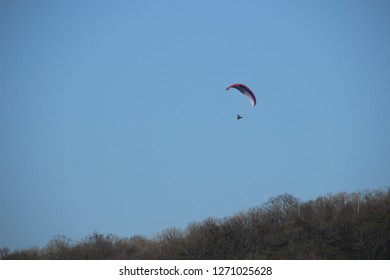 Paraglider over the hill; Photo near Aveney and Besançon in Franche Comté, France