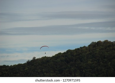 Paraglider over the Valley of the Doubs; Photo from Aveney in Franche Comté, France