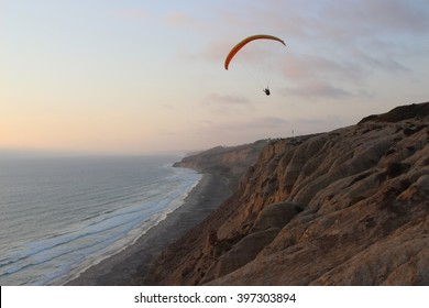 Paraglider at Torrey Pines Gliderport, Southern California Coast