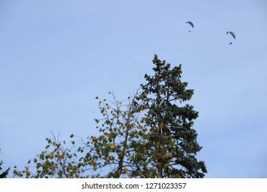 Paragliders; Photo from Aveney in Franche Comté, France