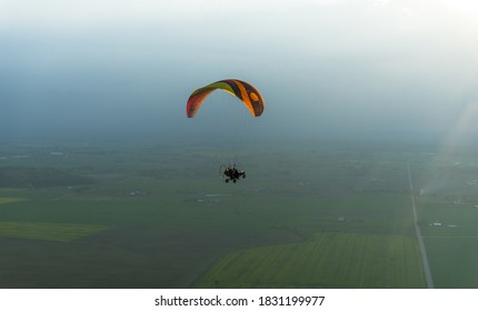 Paragliding in autumn. Lithuania 2020 09