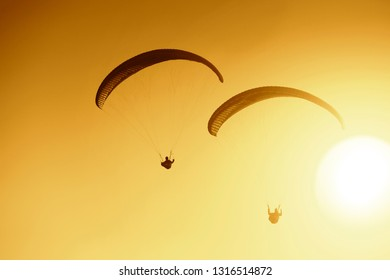 paragliding at beautiful sunset