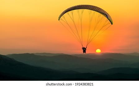 Paragliding concept, Beauty nature mountain landscape Crimea, horizontal photo