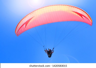 Paragliding extreme sport. Paragliders together flying on a sky background.