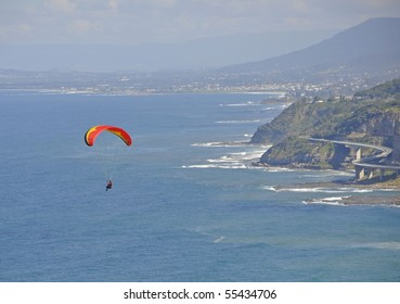 paragliding at the  Grand Pacific Drive Australia  New South Wales, Sea Cliff Bridge in the background
