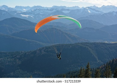 Paragliding at the mountain in Brauneck, Germany