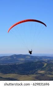 Paragliding in the mountains of Minas Gerais, Brazil