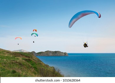 Paragliding on the blue sky and sea background, group of paragliders flying