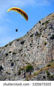 paragliding over Maratea's coast, Basilicata, Italy