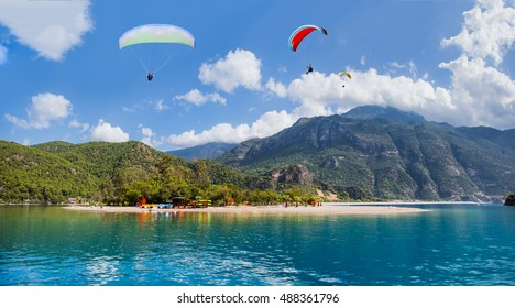 Paragliding over the sea and the mountains, Oludeniz