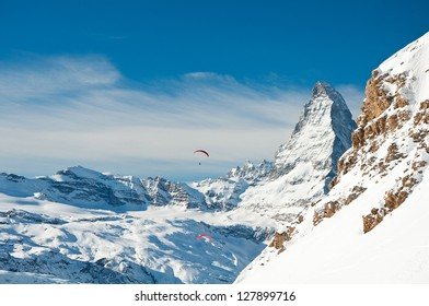 Paragliding over the Swiss Alps with Matterhorn in background