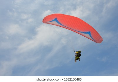 Paragliding. Paraglider flying against the sky. The phot хеo was taken in the town of Kacha in July 2019