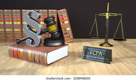 Paragraph with gavel, books, scale and text FCPA on the wooden table. 3d illustration.