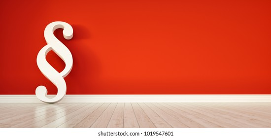 Paragraph smybol against a red wall - law and justice concept image - 3D Illustration