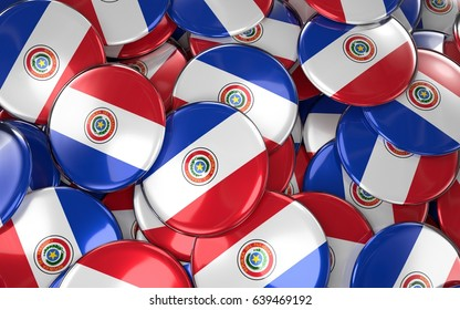 Paraguay Badges Background - Pile of paraguayan Flag Buttons. 3D Rendering