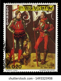 Paraguay - circa 1970: A stamp printed in Paraguay shows St. Eustachius and George, painting by Albrecht Dürer, painter of the German Renaissance, circa 1970